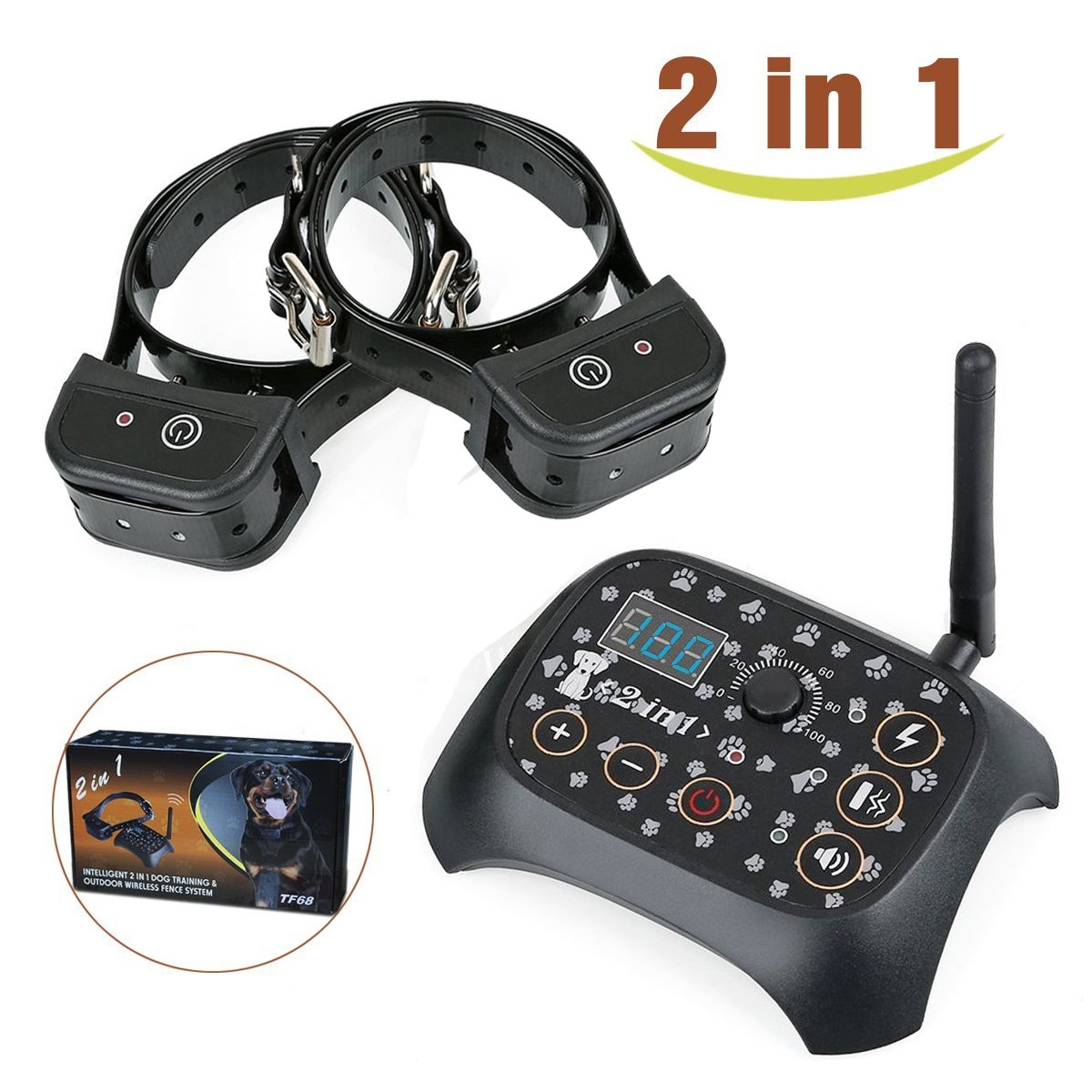 Invisible Dog Fence - 2 In 1 Dog Training & Outdoor Wireless Fence Containment System with Remote-Controlled Rechargeable Transmitter & Training Collar (black) - 2 Dog System