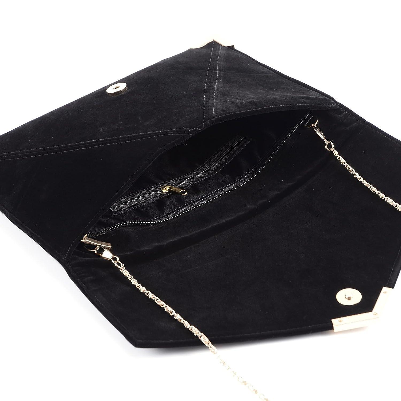 Suede Velvet Clutch Evening Bag Wedding Envelope Bag Prom Party Handbag  Golden Trim 14f19859e32e9