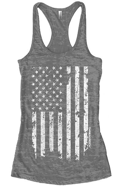 4c7885987eb Amazon.com  Threadrock Women s White Distressed American Flag Burnout Racerback  Tank Top  Clothing