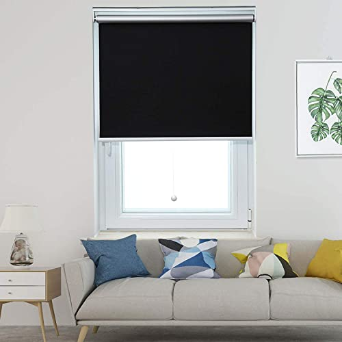 Allesin Thermal Roller Shades Blinds Spring Cordless Blackout Black 46 x 72 Inch Blackout Privacy Room Darkening Window Shade Blind Kit with Spring System for Windows
