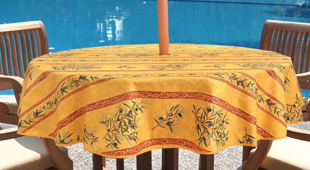 Umbrella Hole Round Tablecloth 60 inches- Provence Coated Olives Branches in Gold - Water and Stain Resistant - Great for Outdoor use -