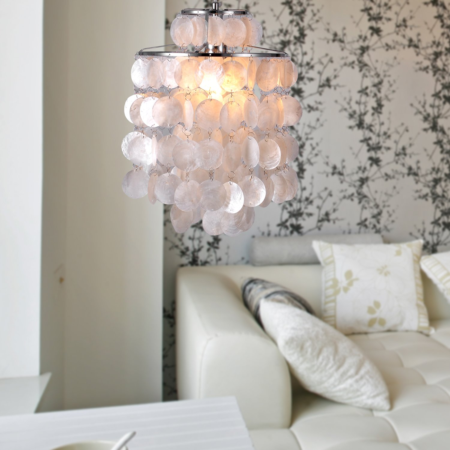LightInTheBox Mini White Shell Pendant Chandelier Chrome Finish