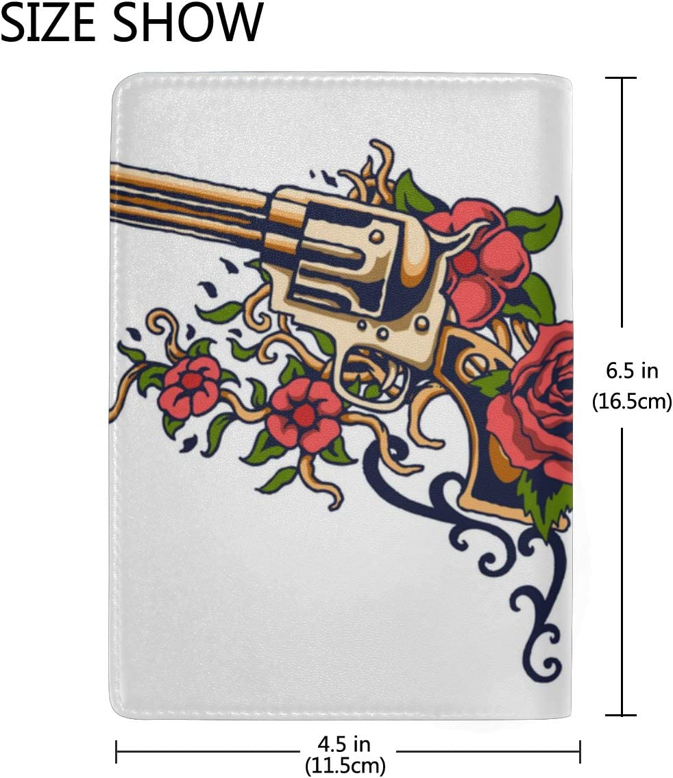 Pistol Bullets And Pistols Blocking Print Passport Holder Cover Case Travel Luggage Passport Wallet Card Holder Made With Leather For Men Women Kids Family