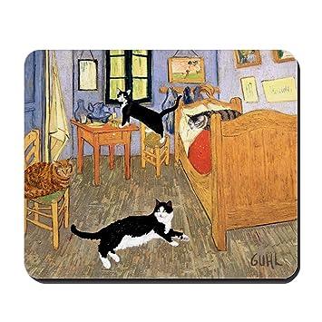 CafePress diseño de Vincent de gatos - antideslizante de goma alfombrilla de ratón, ratón para videojuegos: Amazon.es: Hogar