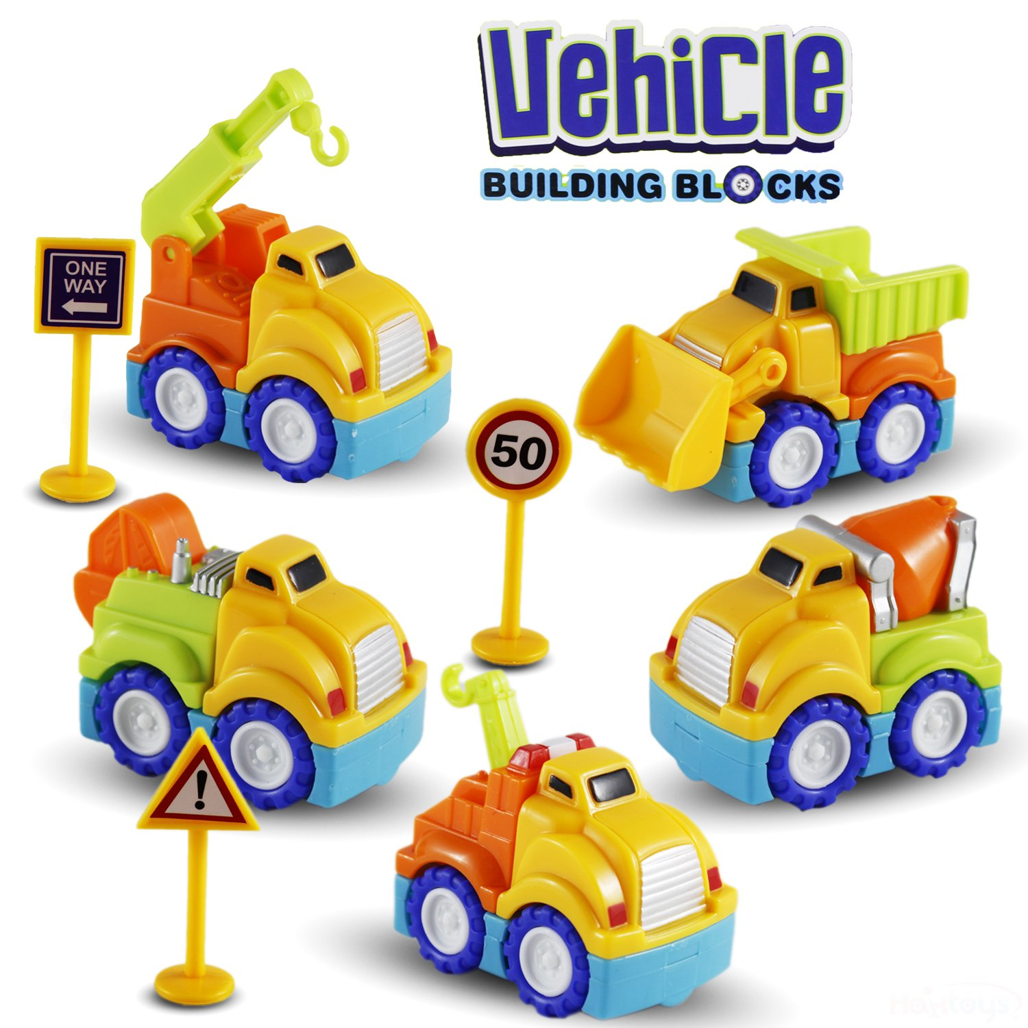Kids Safe and Durable Haktoys Construction Building Blocks Set Mix-n-Match Take-Apart 18-Piece Detachable Vehicle Kit Boys /& Girls . Great Gift Toy for Toddlers Engineering STEM Educational