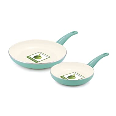 GreenLife Soft Grip Ceramic Non-Stick 7  and 10  Open Frypan Set, Turquoise