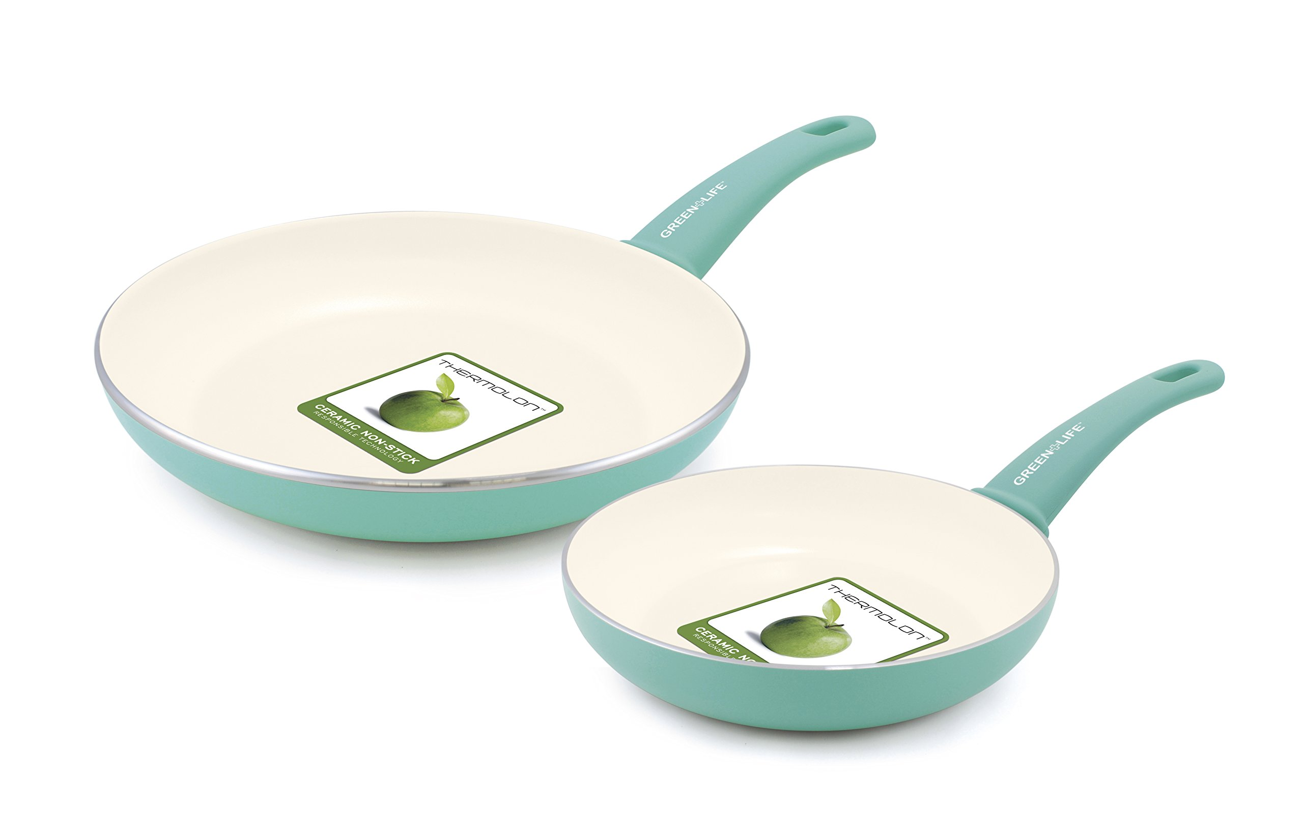 GreenLife Soft Grip Ceramic Non-Stick 7'' and 10'' Open Frypan Set, Turquoise