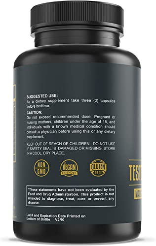 Charles Premium Testosterone Support Testosterone Booster for Men Improve Muscle Growth, Testosterone Production, Bodybuilding, Stamina, Test Magnesium, Zinc, Tribulus Terrestris 90 Capsules