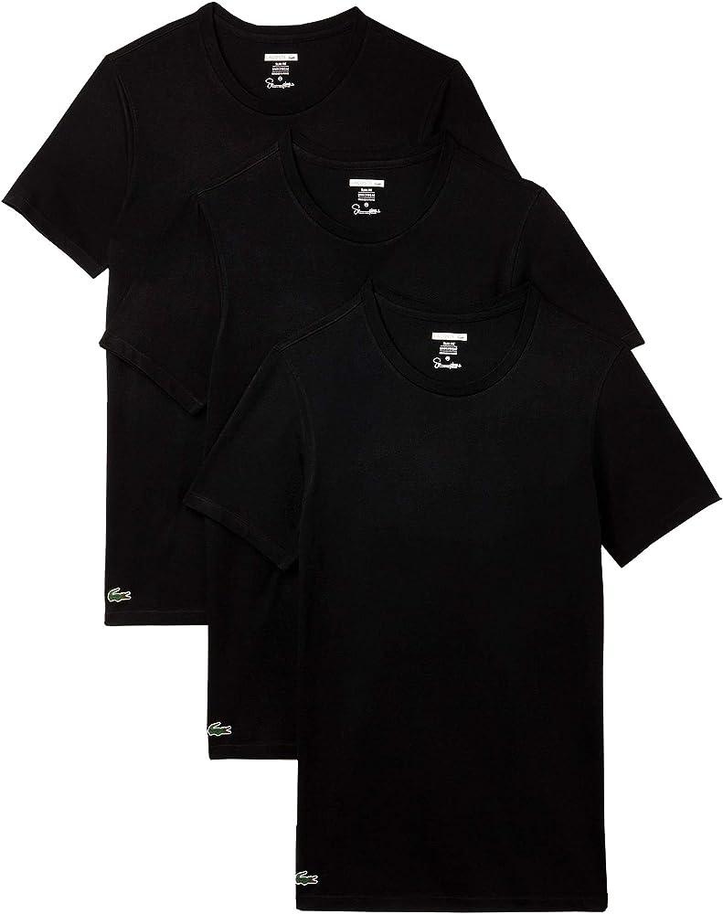 Lacoste Hombre 3 Pack Slim Fit Camisetas, Negro, Large: Amazon.es ...