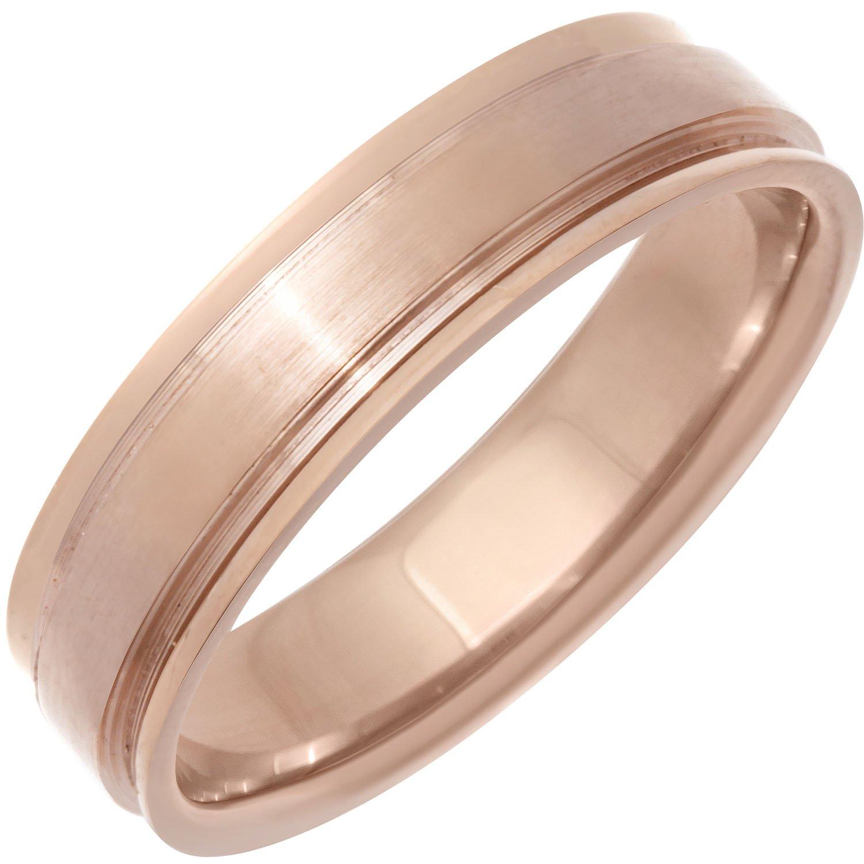 14K Rose Gold Top Flat Women's Comfort Fit Wedding Band (5.5mm) Size-5.5c1