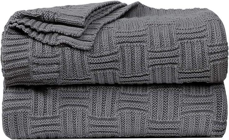 Sourcingmap - Manta de punto 100% algodón, suave, ligera, con textura, para sofá, sofá o sofá, manta decorativa de punto, color gris: Amazon.es: Hogar