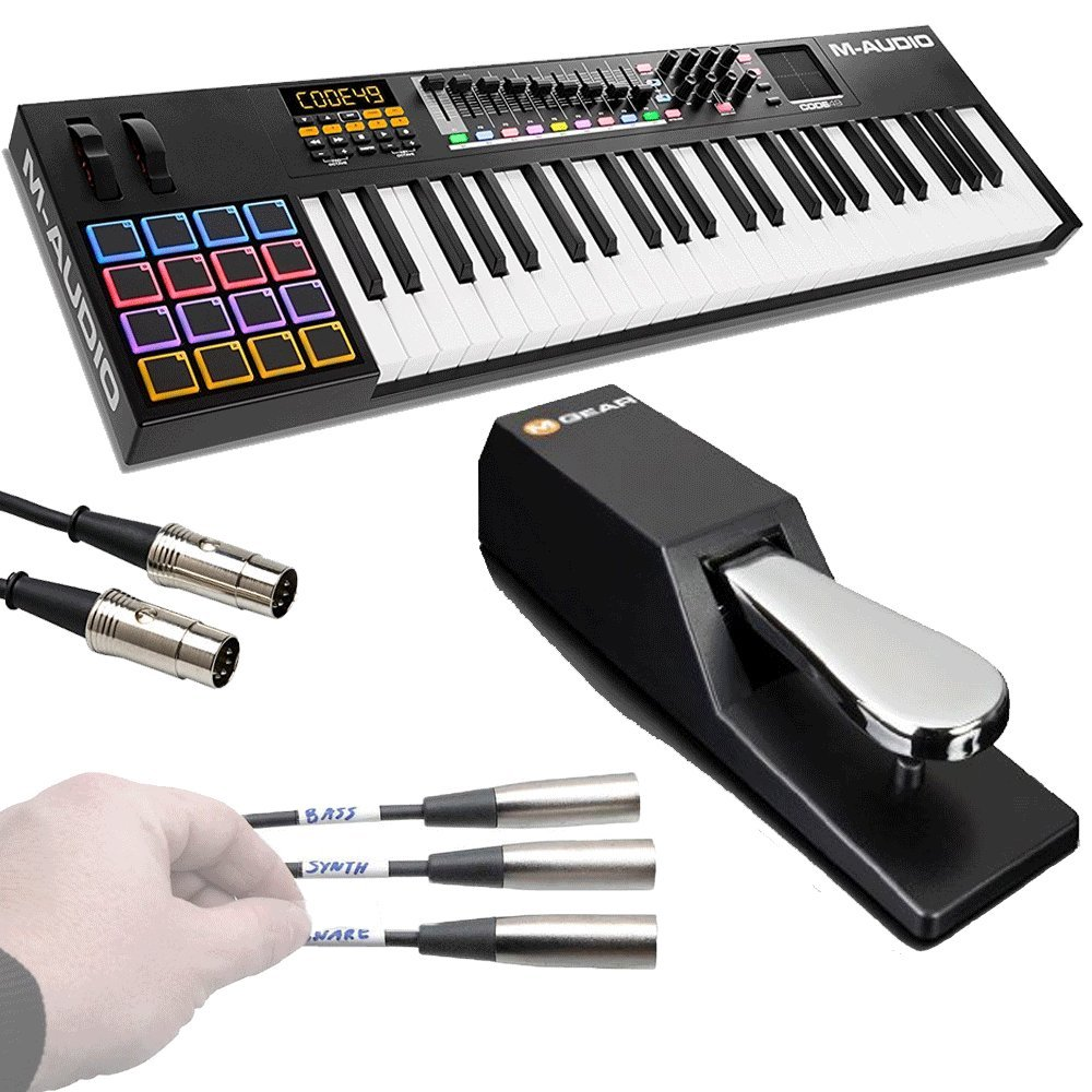 M-Audio Code 49 Black | 49-Key USB MIDI Keyboard Controller with X/Y Touch Pad (16 Drum Pads / 9 Faders / 8 Encoders) + Universal Pedal + Pro MIDI Cable + Label Kit - Top Value M-audio Accessory Kit!! by M-Audio