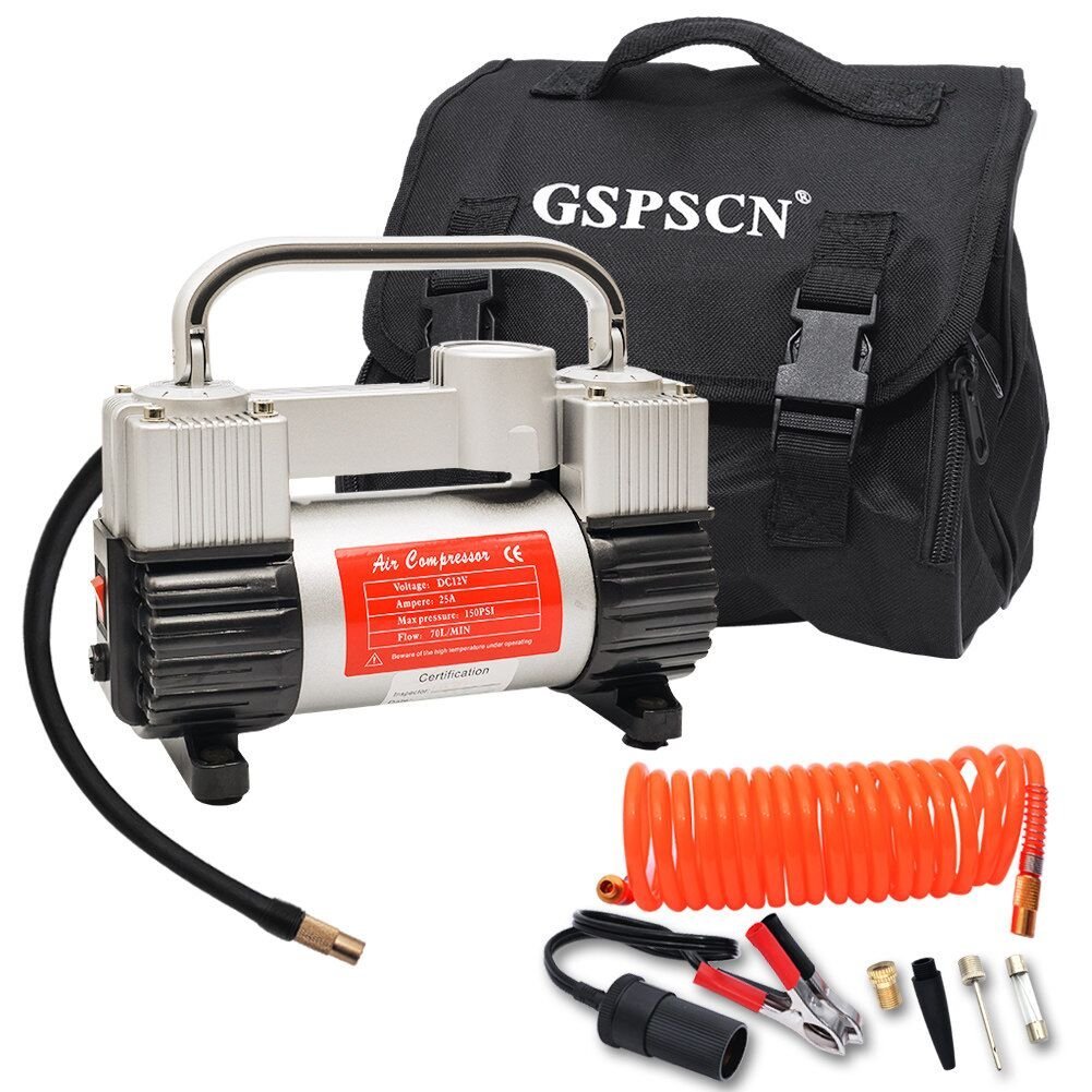 GSPSCN Tyre Inflator,Heavy Duty Double Cylinders Metal Air Compressor Tyre Pump with Portable Bag 12V,150PSI,70/Min,with 3 Adapters for Car, Bike, SUV Tires, Dinghy, Air Bed etc RUIAN FALUOYU Co. Ltd.