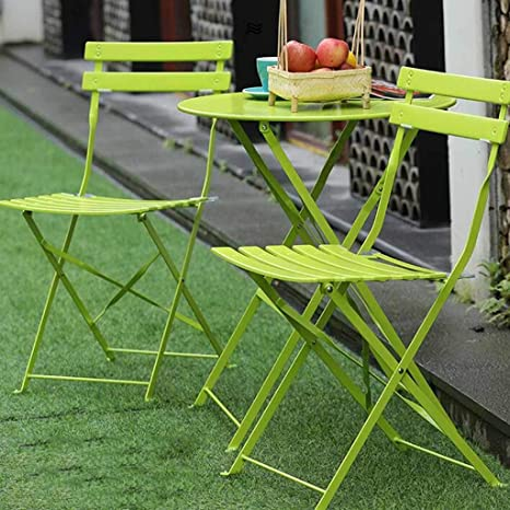 Outdoor Fold Table And Chairs Set Three Piece Patio Table And Chairs Cafe Folding Tables And Chairs Wrought Iron Coffee Table Combination Color Green Size 2chair 1 Table Home Kitchen