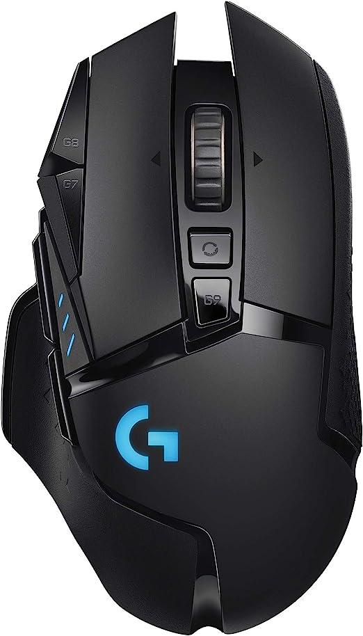 Logitech G502 Lightspeed Wireless Gaming Mouse, Hero 16K Sensor, 16,000 DPI, RGB, Adjustable Weights, 11 Programmable Buttons, Long Battery Life, On-Board Memory, PC/Mac - Black