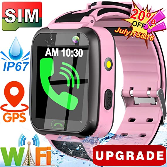 [SIM Card Include] Kids Smart Watch- 2019 Upgrade Real GPS Tracker Waterproof WiFi Smart Watch Phone for Boys Girls with Fitness Tracker Pedometer ...