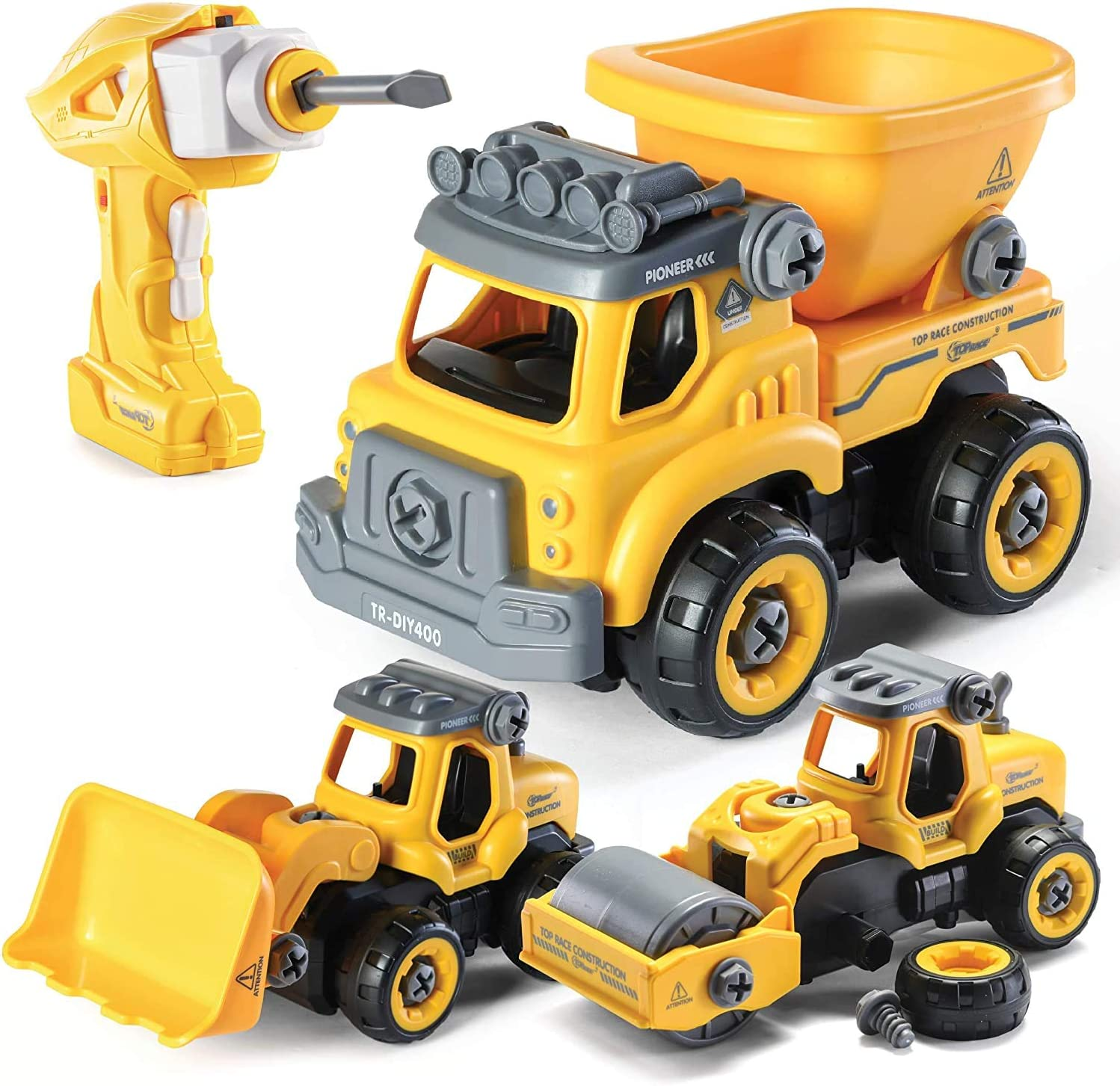 Top Race Take Apart Toys with Electric Drill | Converts to Remote Control Car | 3 in One Construction Truck Take Apart Toy for Boys | Gift Toys for Boys 3,4,5,6,7 Year Olds