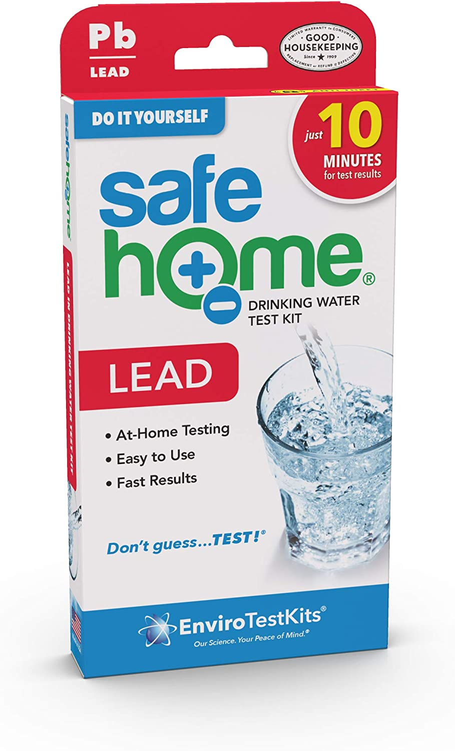 Safe Home DIY LEAD in Drinking Water Test Kit – Backed by the Good Housekeeping Institute – At Home Testing for Lead in City Water or Well Water – 10 Minute Test – Single Pack