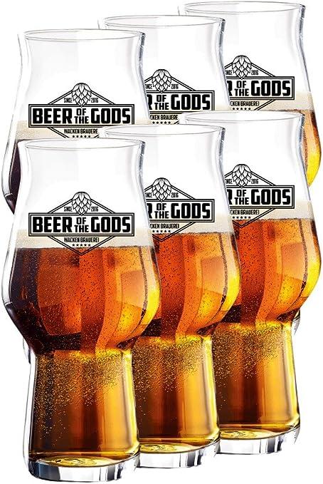 Wacken Brauerei - Vaso de Cerveza Craftmaster One - Beer of The Gods - para Cerveza Artesanal - 6 Vasos: Amazon.es: Hogar