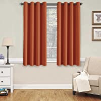 PrimePros Blackout Thermal Insulated Curtains for Bedroom /Living Room, 132CM Wide x 160CM Long Each Panel,Grommet Top (Set of 2 Panels, Chocolate Brown)