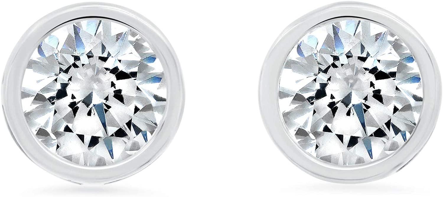14k Solid Gold ROUND Bezel-Set Stud Earrings with Genuine Swarovski Zirconia   0.50 to 2.0 CTW   With Gift Box