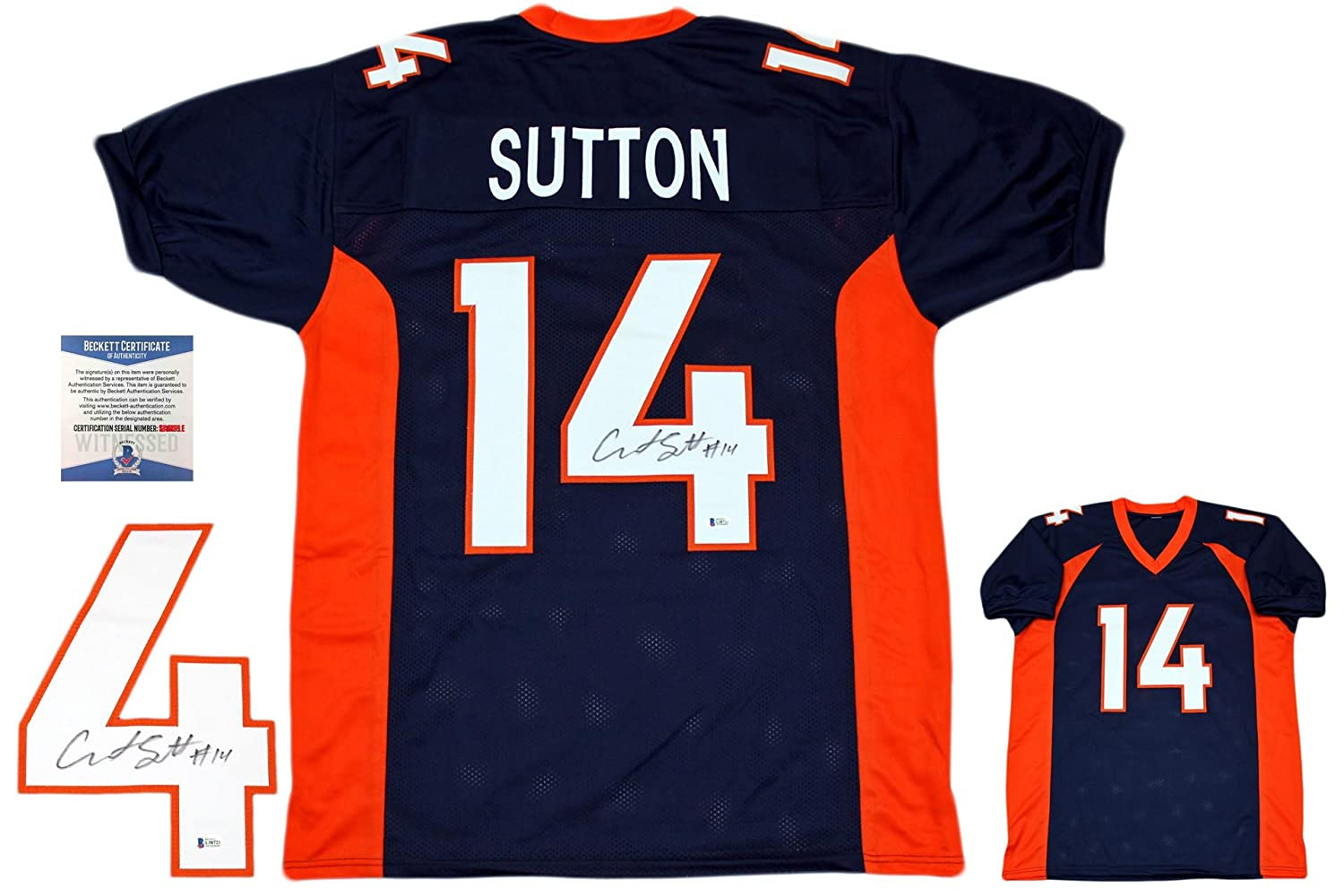 e109e83c57c Courtland Sutton Autographed Signed Jersey - Beckett Authentic - Navy at  Amazon s Sports Collectibles Store