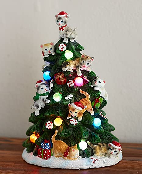 The Lakeside Collection Cat Lighted Tabletop Tree