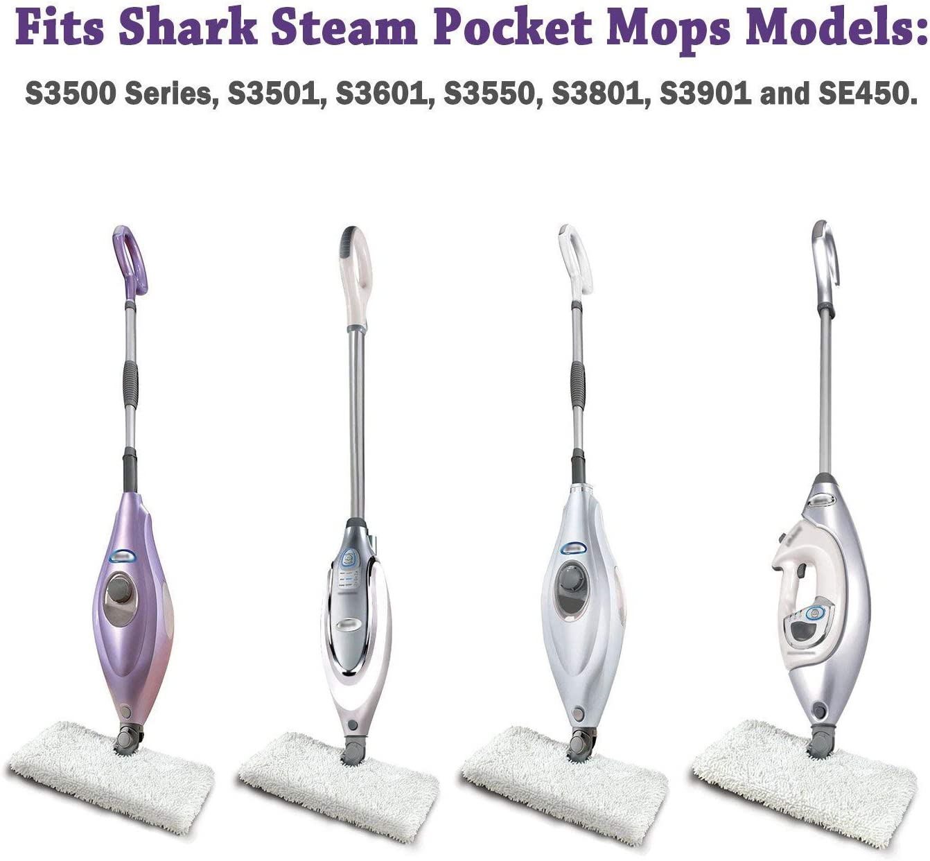 Drita Replacement Microfiber Steam Mop Cleaning Pads Fits Shark Steam Pocket Mops S3500 Series S3501 S3601 S3550 S3901 S3801 SE450 S3801CO S3601D 3 Pack White