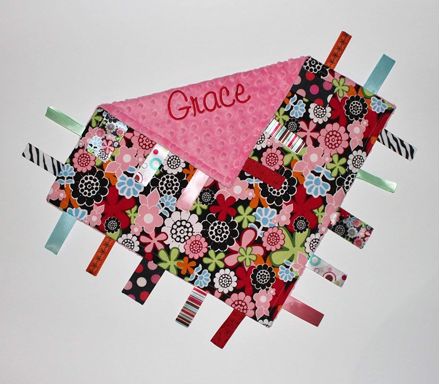 16x16 Flowers and Pink Minky Personalized Ribbon Tag Blanket with Pacifier Clip Custom Blanket Blanket with Ribbons