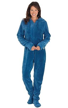 PajamaGram Fleece Onesies for Women - Hoodie Footie Pajamas Adult ... ebd23280d0