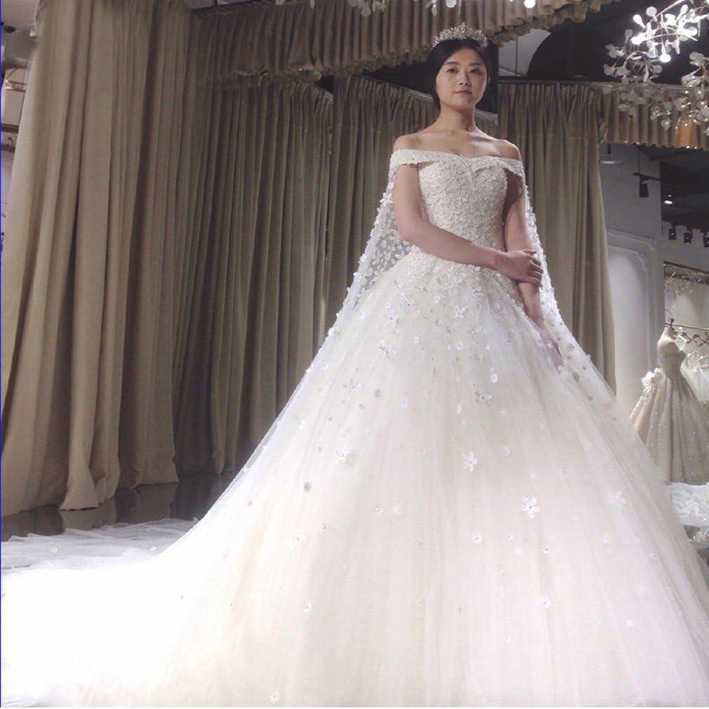PLLP Ladies and Girls Dress Wedding Dress Bride Wedding Tail Qi Large Size Slim Thin Wedding Dress