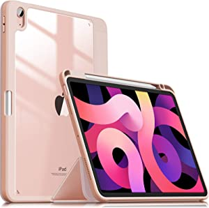 INFILAND Compatible with iPad Air 4 2020 Case with Pencil Holder, Shockproof Case with Clear Transparent Back Fit iPad Air 4 10.9 inch 2020 Release [Support 2nd Gen Pencil Wireless Charging] Pink