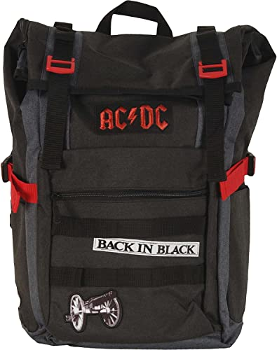 AC DC Black Roll-Top Backpack Standard