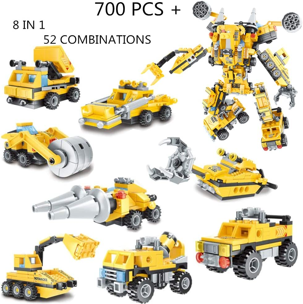 IROCH Engineering Vehicle Building Blocks Figures STEM Robot Bricks Toy Compatible Transform Building Bricks Activities (8 in 1 700PCS+)