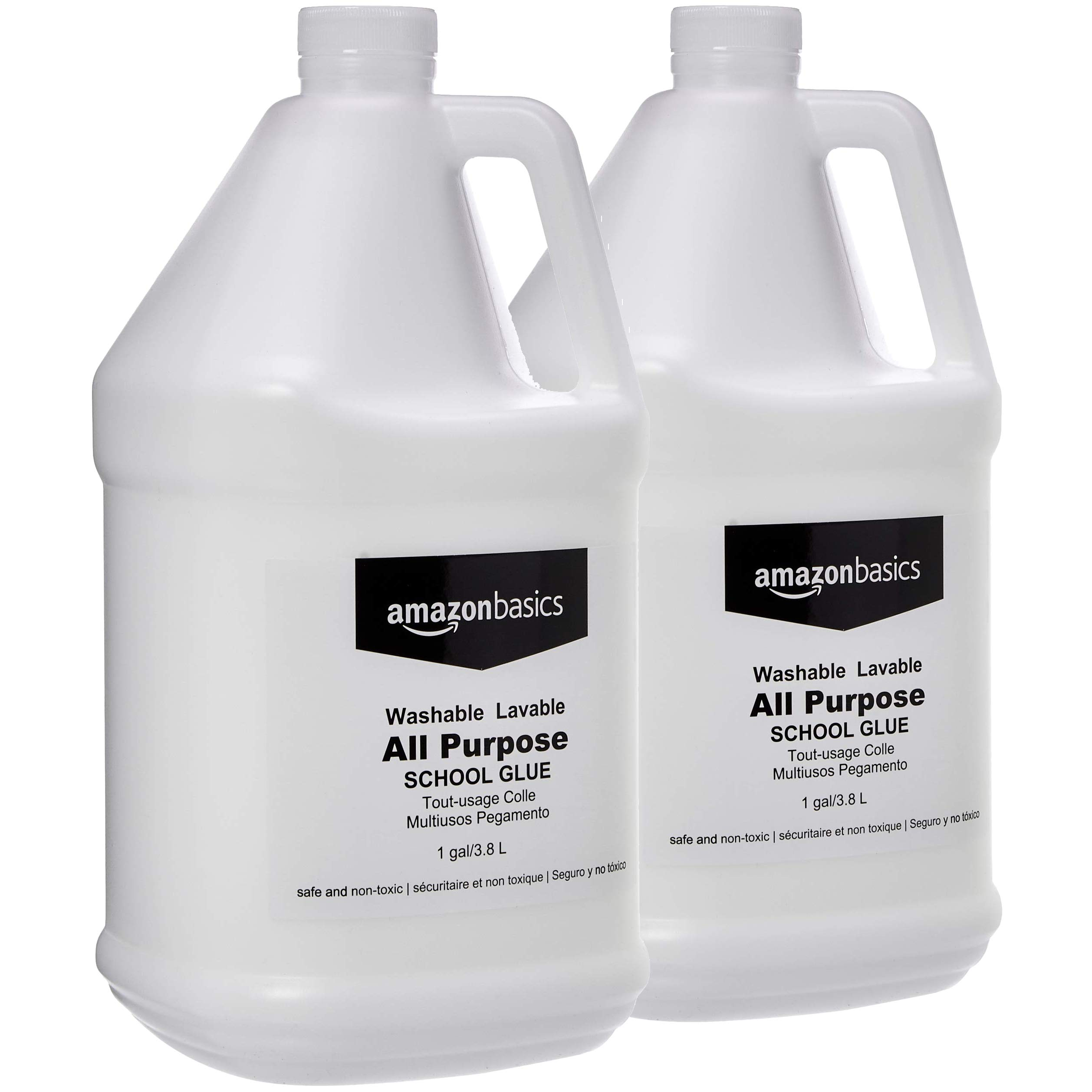 AmazonBasics All Purpose Washable Liquid Glue, Great for Making Slime, 1 Gallon Bottle, 2-Pack