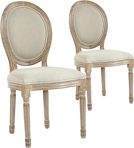menzzo chaises salle manger chaise medaillon de salle a manger salon ou cuisine lot de 2 tissu beige chaise louis xvi confortable
