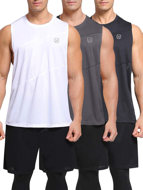 Neleus Mens 3 Pack Workout Tank Top Sleeveless Dri Fit Gym Shirt