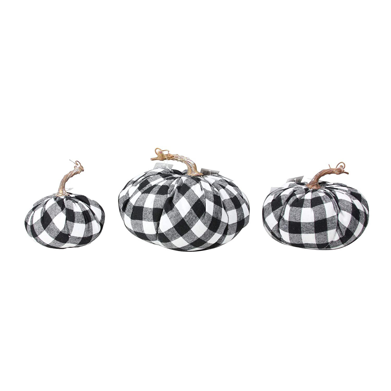 "Raz Set of 3 Black and White Plaid Autumn Pumpkin Tabletop Decoration 8.5""-5"""