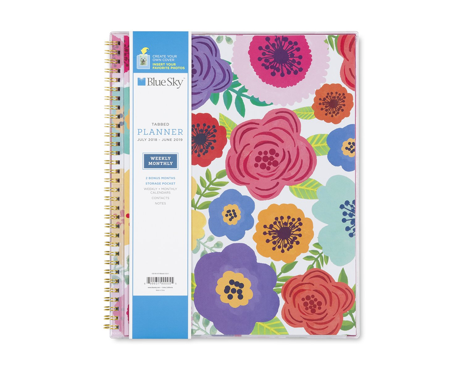 Blue Sky 2018-2019 Academic Year Weekly & Monthly Planner, Flexible Cover, Twin-Wire Binding, 8.5'' x 11'', Mahalo