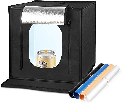 amzdeal Photo Studio 60 x 60 x 60 cm plegable portátil caja de luz LED 5000LM