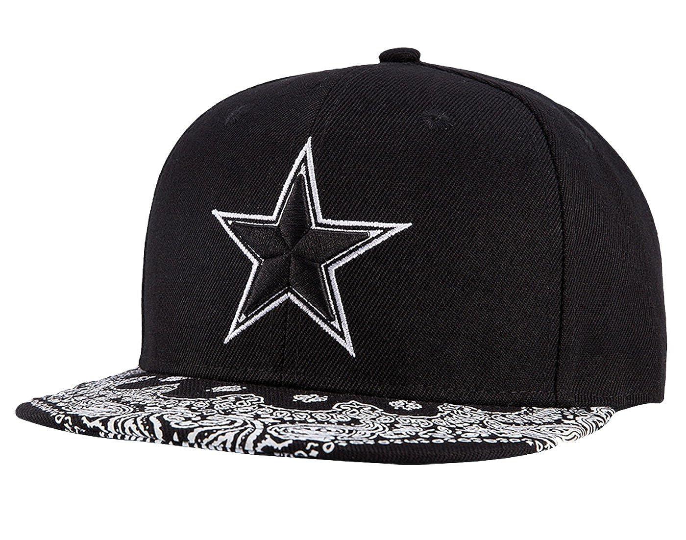 ab80e246af59c Wuke Sombrero Clásico Gorra de Beisbol Hombre con Estrella Bordado  Protectora de Sol Plano Negro  Amazon.es  Ropa y accesorios