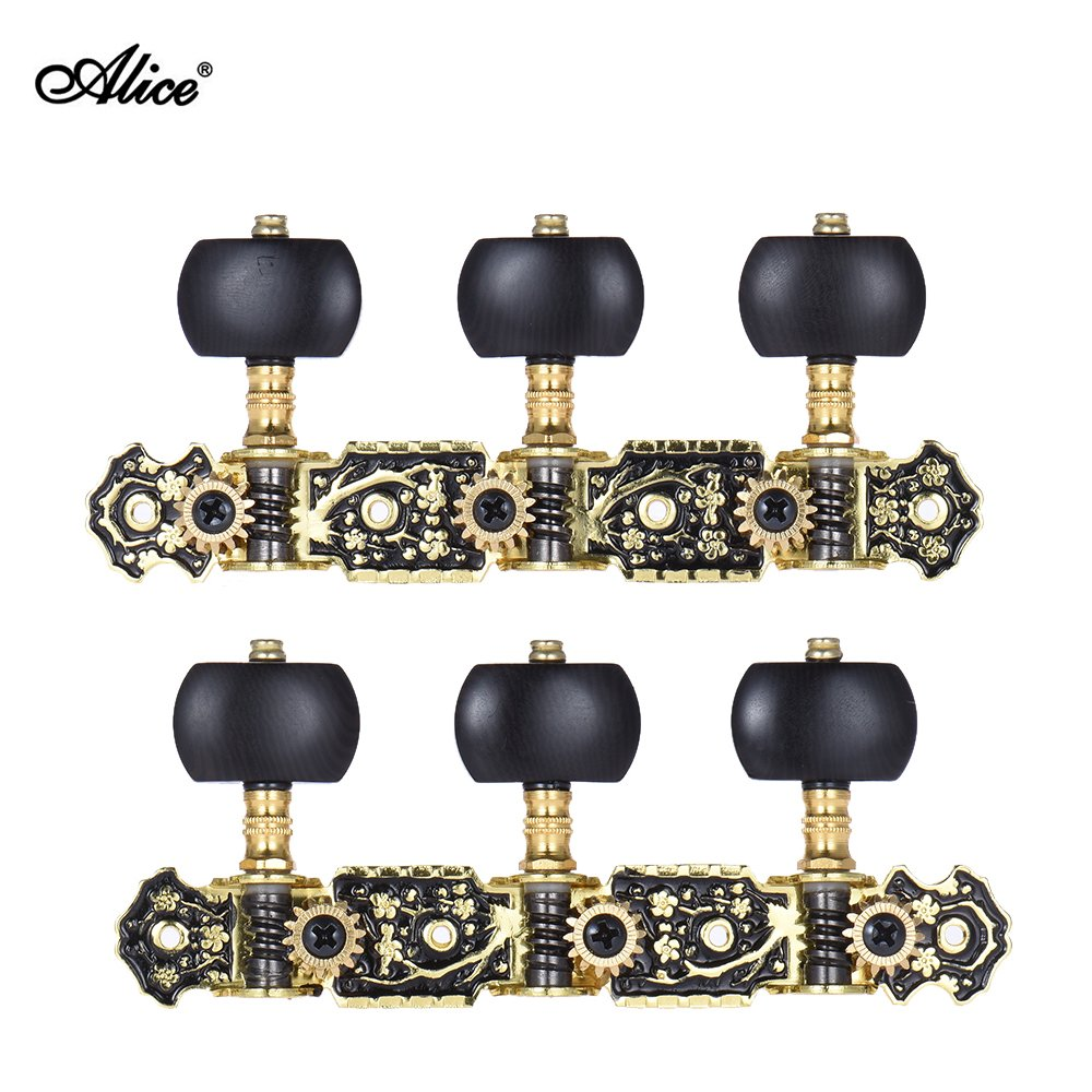 Andoer Alice AOS-020HV3P 2pcs(L& R) Acoustic Classical Guitar Tuning Keys Pegs String Tuners 3+3 Machine Heads (Short) Gold and Black Plated Tuning Peg