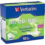 Verbatim CD-RW 700MB 2X-12X Rewritable Media Disc - 10 Pack Slim Case