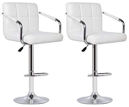 Your Price Furniturecom Set Of 2 Milan Bar Stools With Arms White