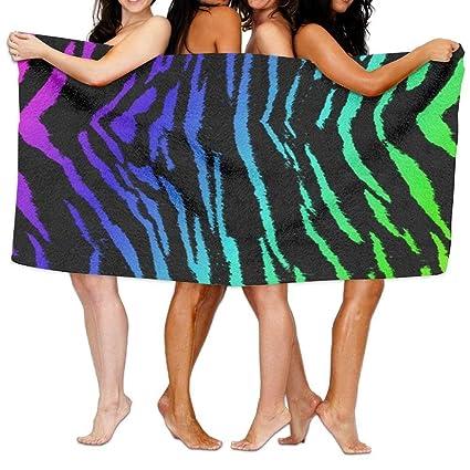 xcvgcxcvasda - Toalla de Playa, diseño de Rayas de Tigre arcoíris