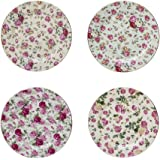 Gracie China Rose Chintz Porcelain 8-Inch Dessert Plate Set of 4, Assorted Four Designs