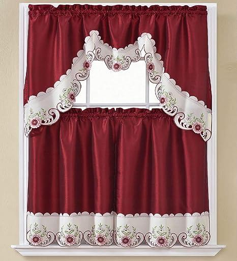 B H Home Emma Floral Embroidered 3 Piece Kitchen Curtain Window Treatment Set Emma Burgundy Furniture Decor