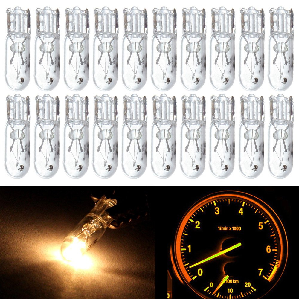 cciyu 20 Pack T5 17 86 206 Halogen Light Bulb Instrument Cluster Gauge Dash Lamp 12V (white) by cciyu