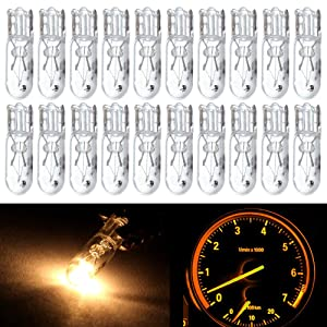 cciyu 20 pcs T5 17 86 206 White Halogen Light Bulb Instrument Cluster Gauge Dash Lamp 12V