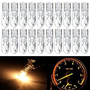 cciyu 20 pcs T5 17 86 206 White Halogen Light Bulb Instrument Cluster Gauge Dash Lamp 12V